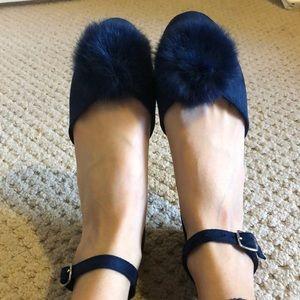 Blue Flats with Furry Pom